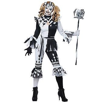 Crazy Jester Deluxe Joker Harley Quinn Mardi Gras Clown Psycho Womens Costume