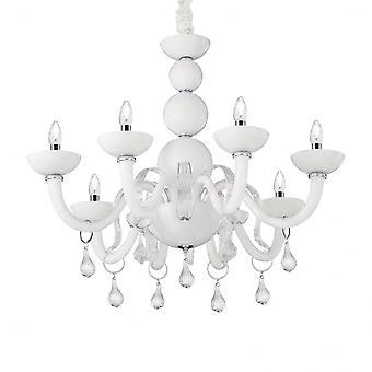 Ideale Lux Windsor moderne Gloss White 8 licht plafond kroonluchter