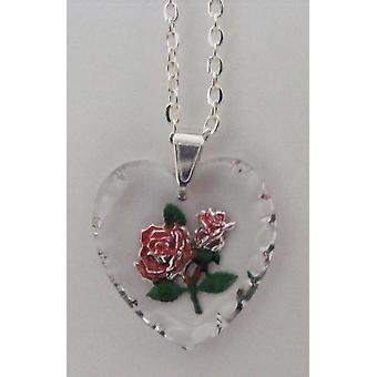 Hand painted Red Rose on a heart shaped crystal pendant