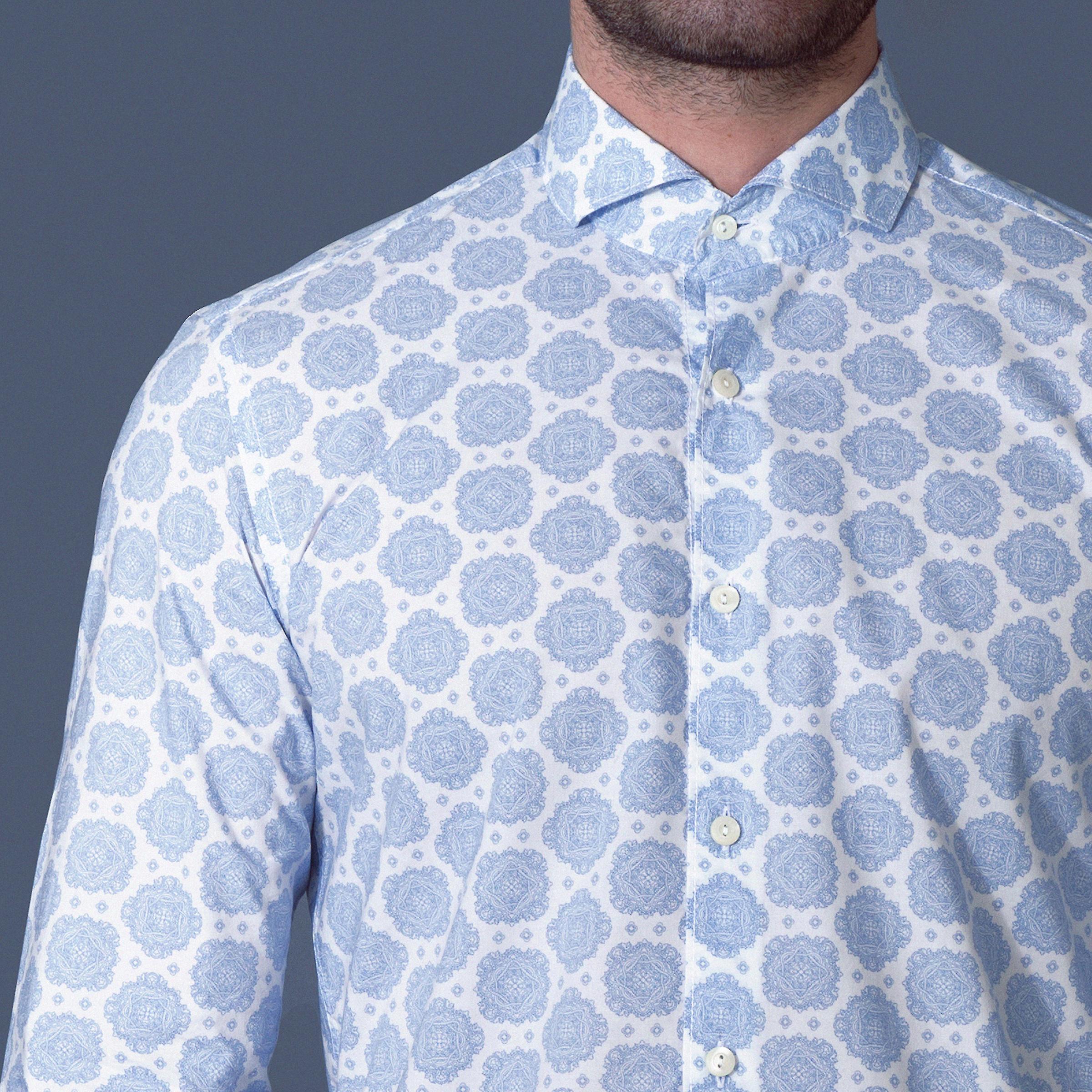 Fabio Giovanni Lazio Shirt - Mens Italian Casual Stylish Shirt 100% Cotton - Long Sleeve
