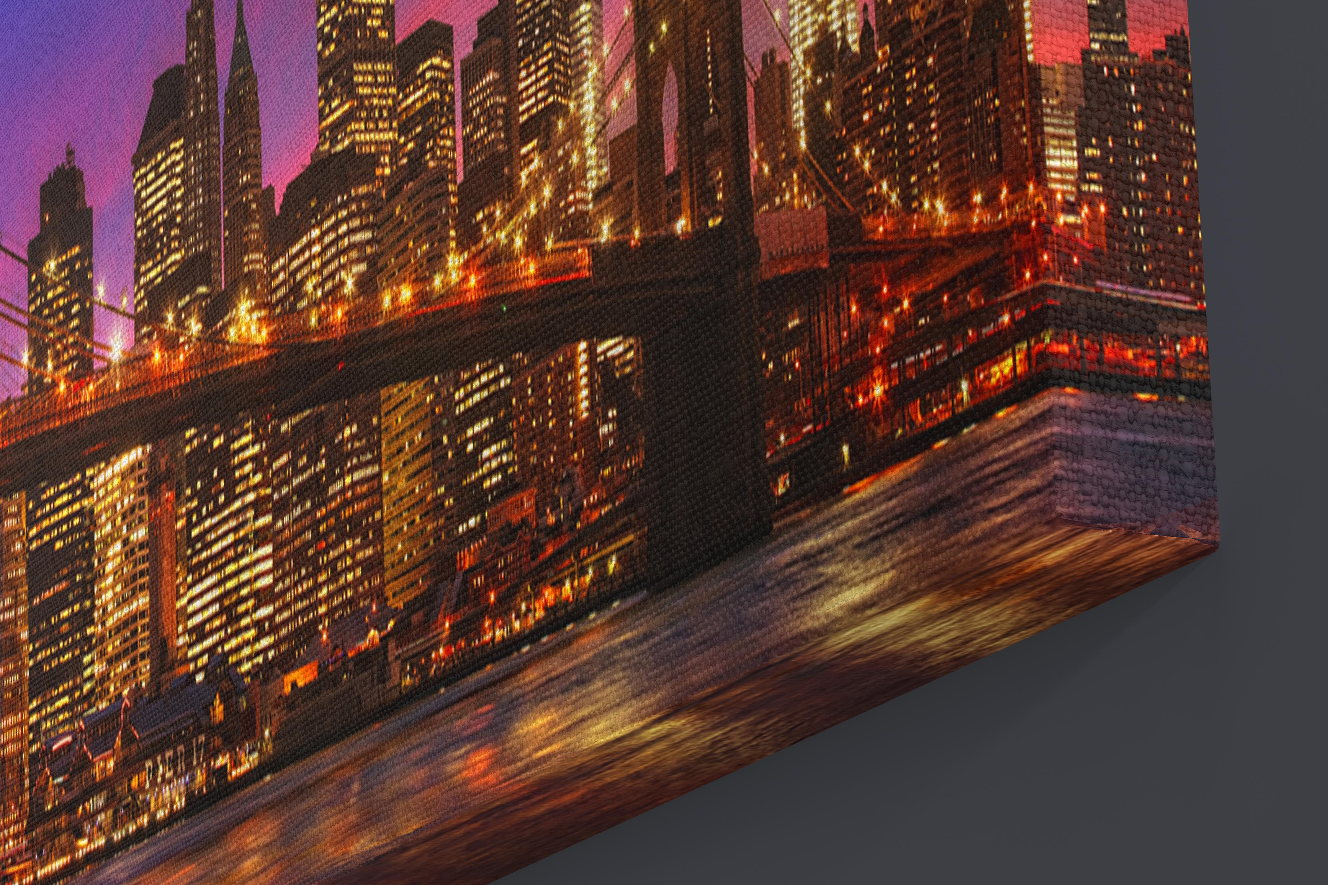 Large A1 A2 A3 Panel Panoramic Canvas Wall Art Painting of New York City Scape for your Living Room Canvas Prints - Pictures