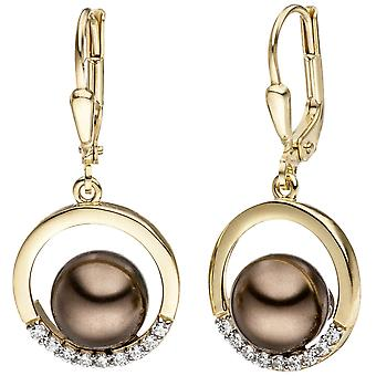 Yellow Gold Earrings 333 gold bicolor with dark Pearl and cubic zirconia earrings