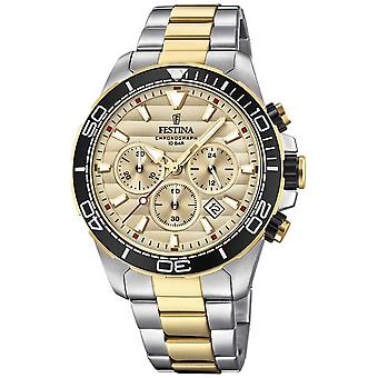 Festina Mens Two-tone Stainless Steel Chronograph Gold Dial F20363/1 Watch