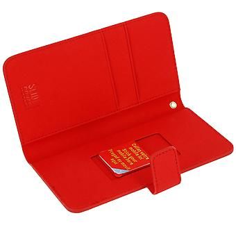 Muvit Flip wallet cover, card holder case for Smartphone size XL - Red