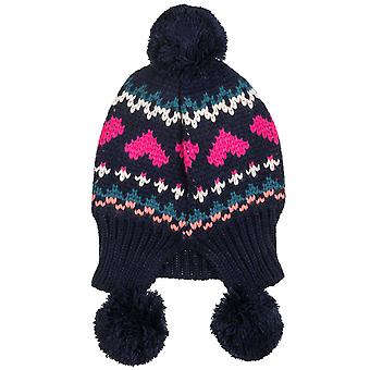 Animal Peonie Womens Tibetan Woolly Knit Bobble Pom Pom Beanie Hat - Blue