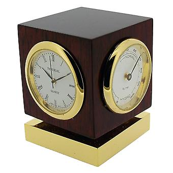 Gift Time Products Cube with Thermo Hygrometer and Clock - Gold/Brown