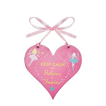 Fairy heart wooden hanging sign