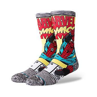 Holdning Marvel Spiderman Comic Crew sokker i grå