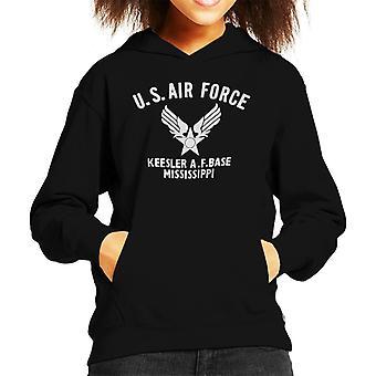 US Airforce Keesler AF Base Mississippi White Text Kid's Hooded Sweatshirt