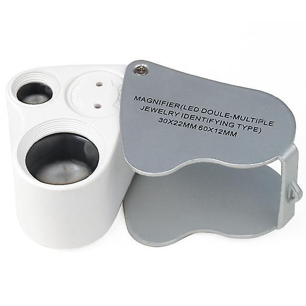 TRIXES Jewellers Lens Glass Loupe 30X & 60X Magnifier 2x LEDs Lights