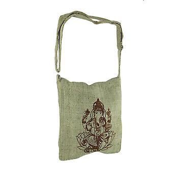 Natuurlijke Tan Ganesh Design geweven organische hennep Crossbody tas