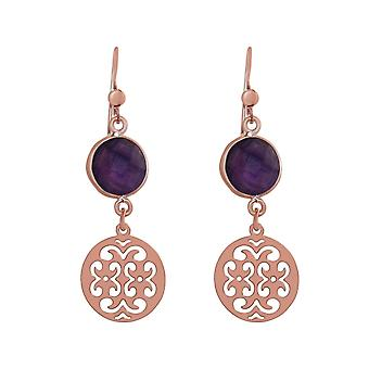 GEMSHINE kvinnors Örhängen Mandalas Ametists silver, guldpläterad eller ros