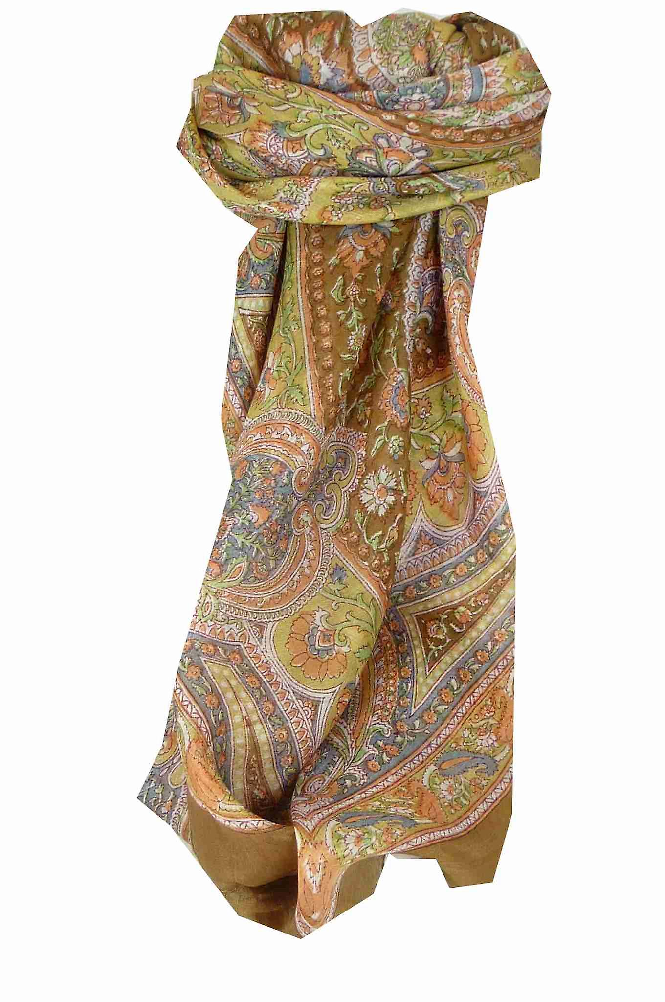 Mulberry Silk Traditional Square Scarf Kambi Chestnut by Pashmina & Silk