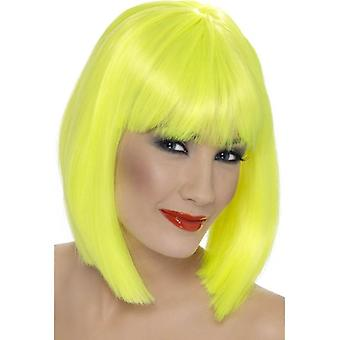 Short Neon Yellow Straight Wig, Glam Wig With Fringe, Fancy Dress Accessory.