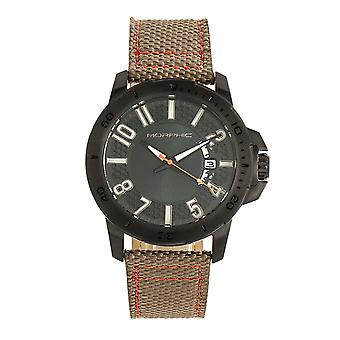Morphic M70 Series Canvas-Overlaid Leather-Band Watch w/Date - Black/Khaki