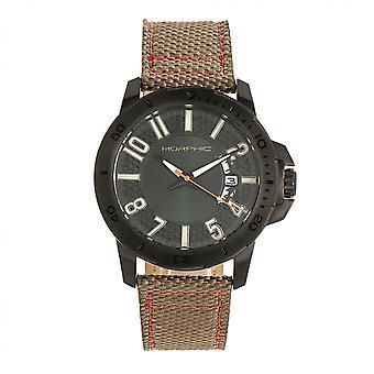Mórfico M70 Series revestida de lona couro-banda Watch w/data-preto/caqui