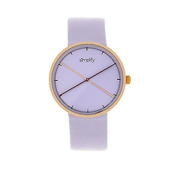 Simplify The 4100 Leather-Band Watch - Rose Gold/Purple