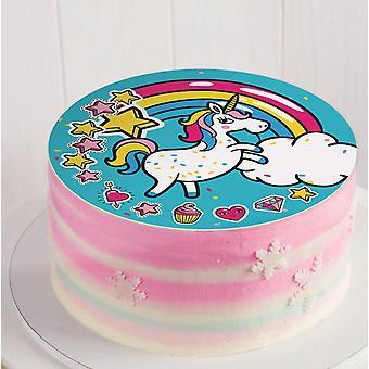 Déposant de gâteau licorne de sucre avec de la nourriture à colorier, comestibles.