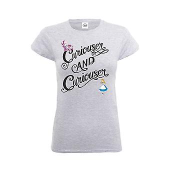 Vrouwen Alice in Wonderland nieuwsgierige & nieuwsgierige uitgerust T-shirt