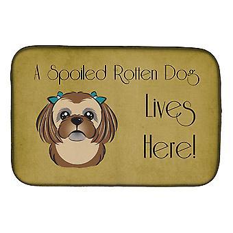 Suklaa ruskea Shih Tzu pilaantunut koira asuu täällä lautasen kuivaus matto