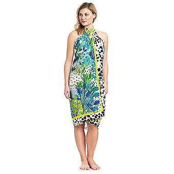 Féraud 3195314-16526 Women's Voyage Sealeaves Blue Floral Sarong Beach Cover Up Pareo