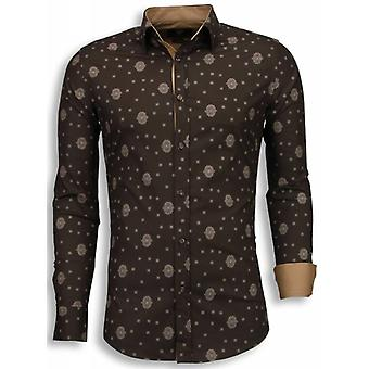 E Shirts - Slim Fit - Mosaic Pattern - Brown