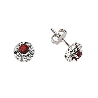 Jewelco London Rhodium Plated Sterling Silver Red and White Round Brilliant Cubic Zirconia Halo Stud Earrings