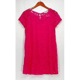 Socialite Dress Short Sleeve Crew Neck Lace Bright Pink