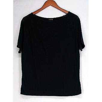 Iman T-Shirt Top Slip Into Slim Basic Tee Black Womens 460-386