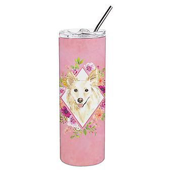 White Collie Pink Flowers Double Walled Stainless Steel 20 oz Skinny Tumbler