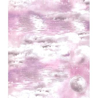 Arthouse Watery Skies Wallpaper Clouds Moon Glitter Shimmer Pink White Feature