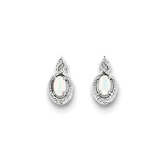 925 Sterling Silver Polished Open Back Post Oorbellen Rhodium verguld gesimuleerde opaal en Diamond Oorbellen Sieraden Geschenken fo