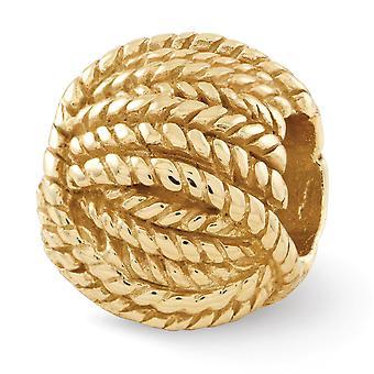 925 Sterling Silber poliert 14 k Gold vergoldet Reflexionen Kugel Garn Perle Anhänger Anhänger Halskette Schmuck Geschenke für Wome