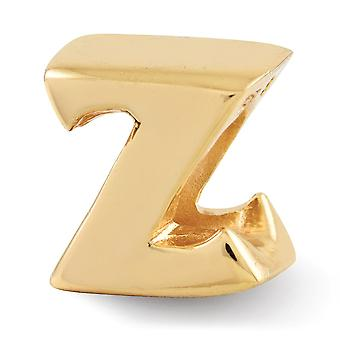 925 Sterling Silver Polished 14k Gold Plated Reflections Letter Name Personalized Monogram Initial Z Bead Charm Pendant