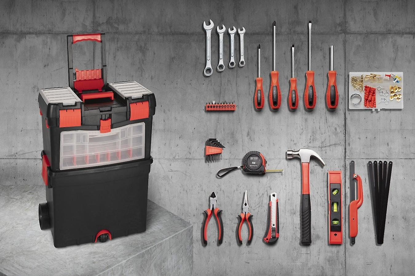 WOLFGANG 40 Parts Premium Tool Cart Filled, Universal Toolbox with Wrench Set, Screwdriver Set, Bit Set, Hammer, Imbuse, Pliers
