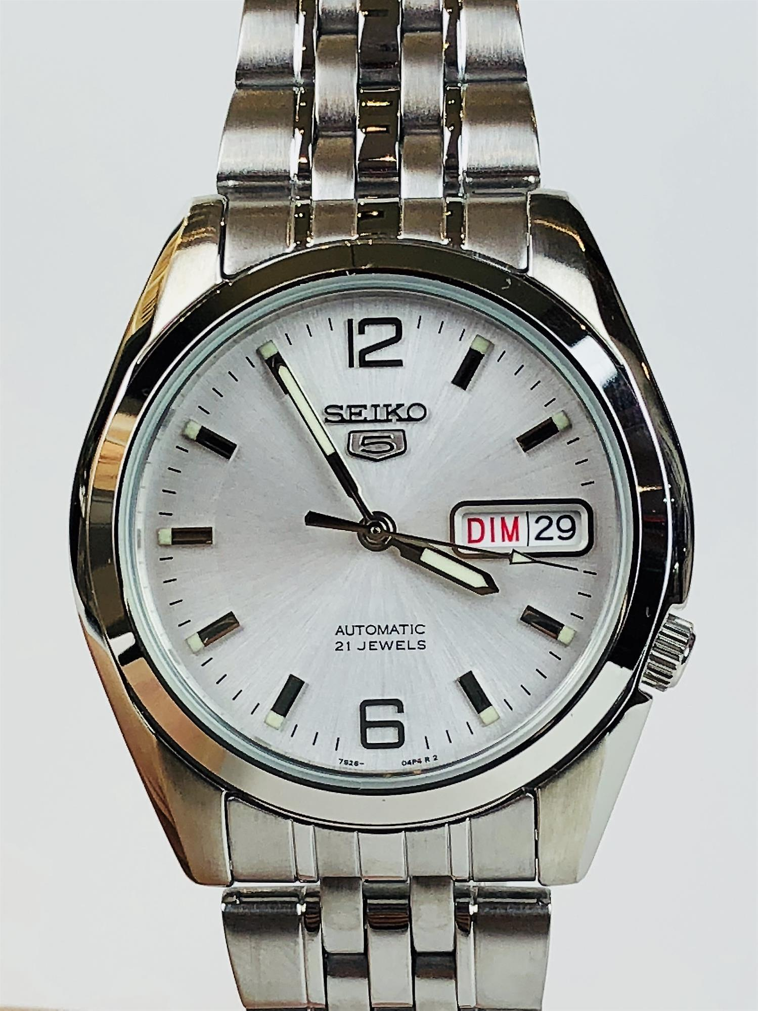 Seiko 5 Automatic White Dial Stainless Steel Men's Watch SNK385K1