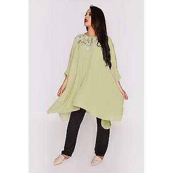 Shifra longline cropped manica top & pantalone due pezzi co-ord set in verde e nero