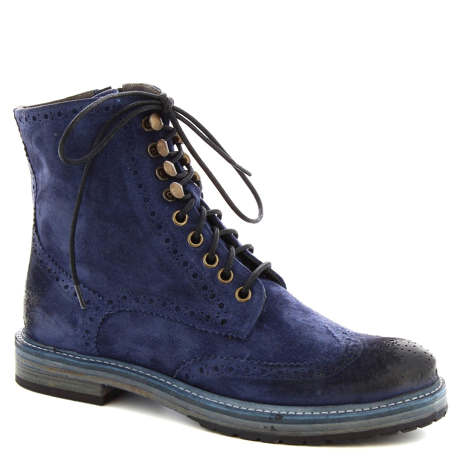 Leonardo Shoes Women's handmade laced ankle boots blue calf leather with zip