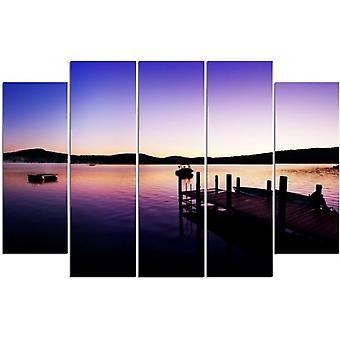 Vijf deel foto op canvas, Pentaptych, type B, jachthaven en meer op een zomerse ochtend