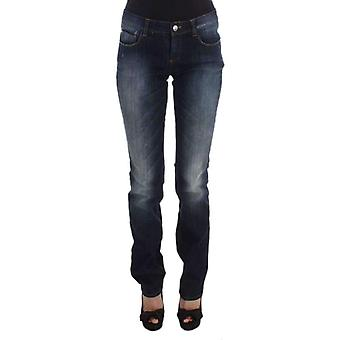 Blue Cotton Slim Fit Bootcut Jeans -- SIG3417925
