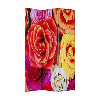 "1"" x 48"" x 72"" Multi Color Wood Canvas Daisy And Rose  Screen"