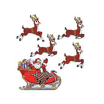 Vintage Weihnachten Santa & Schlitten Ausschnitte
