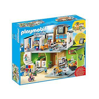 Playmobil-møbleret skolebygning legetøj