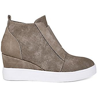 Brinley Co. Womens Clayre Athleisure Laser-Cut Side-Zip Sneaker Wedges Taupe,...