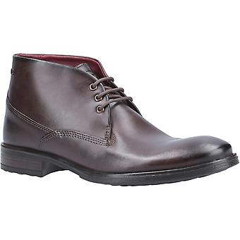 Base London Mens Bramley Burnished Lace Up Ankle Boot Brown