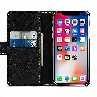 Case For IPhone Xs / X Black Grained Card Holder In True Leather