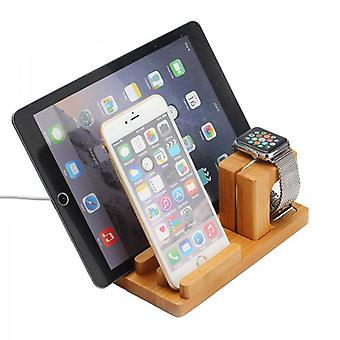 Docking station cradle bamboo wood table stand for iPad iWatch iPhone 5 6 6 S