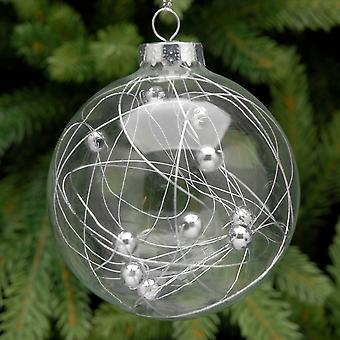 8cm Clear Glass Silver Bead Filled Christmas Tree Bauble