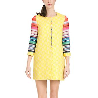 Desigual by L Women's Yellow & Bright Sleeves Nati Lightweight Coat