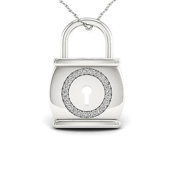 Igi certified s925 sterling silver 0.1ct tdw diamond lock fashion necklace